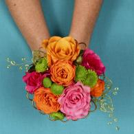 Pink, Orange & Green Hand Held Bouquet