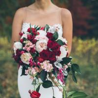 Burgundy and Blush Cascading Bridal Bouquet