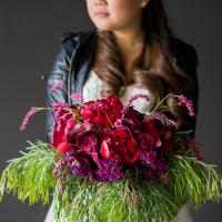 Rock and Roll Bride wanted to pair her boots and leather jacket withe something more feminine for her bridal boquet