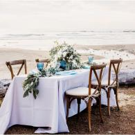 Wedding Reception Table, Beach Wedding, Reception, Blue Wedding, Silver Wedding, Elopement Dinner