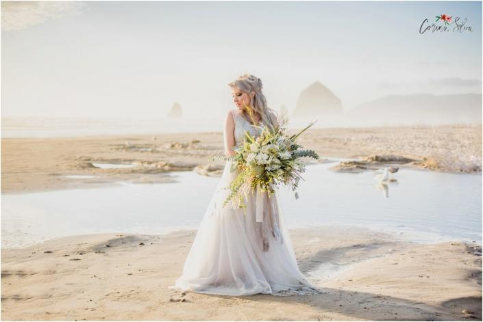 Haystack Rock, Beach Wedding, Boho, Statement Bouquet,